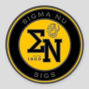 Sigma Nu Badge Round Car Magnet