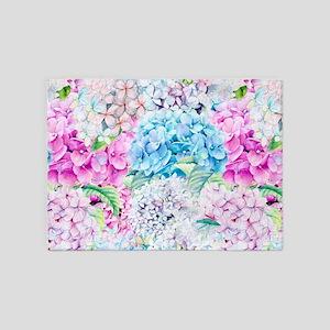 Watercolor Spring Pastel Hydrangea 5'x7'Area Rug