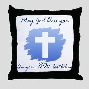 Christian 80th Birthday Throw Pillow