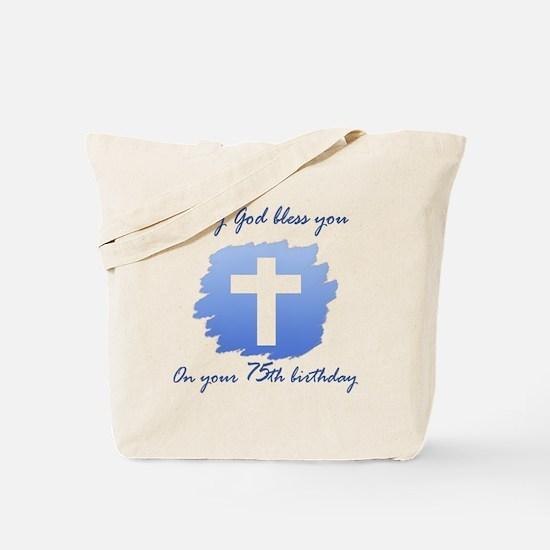 Christian 75th Birthday Tote Bag