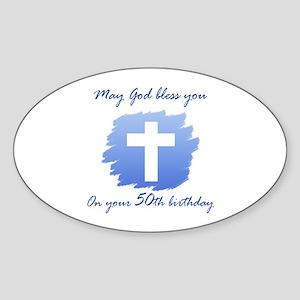 Christian 50th Birthday Sticker (Oval)