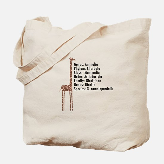 giraffe - with text Tote Bag