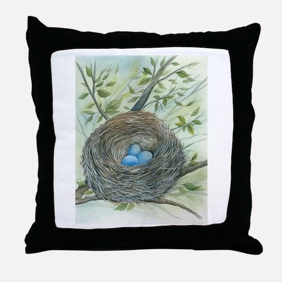 Robin's Nest Throw Pillow