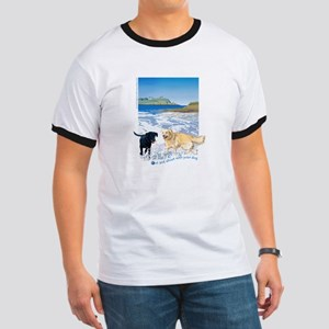 Playful Dogs On Beach Ringer T