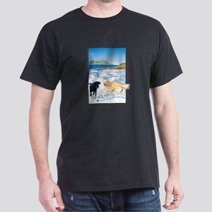 Playful Dogs On Beach Dark T-Shirt