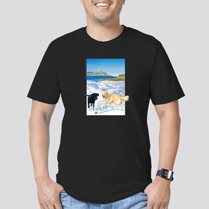 Playful Dogs On Beach Men's Fitted T-Shirt (dark)