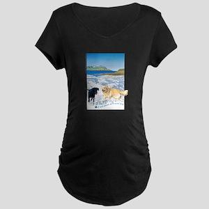 Playful Dogs On Beach Maternity Dark T-Shirt