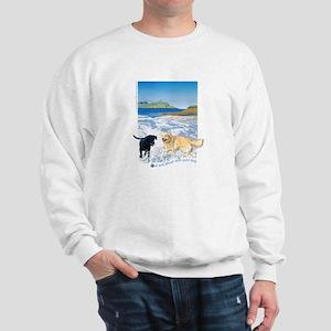 Playful Dogs On Beach Sweatshirt