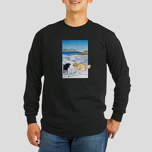 Playful Dogs On Beach Long Sleeve Dark T-Shirt