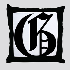 """Letter """"G"""" (Gothic Initial) Throw Pillow"""
