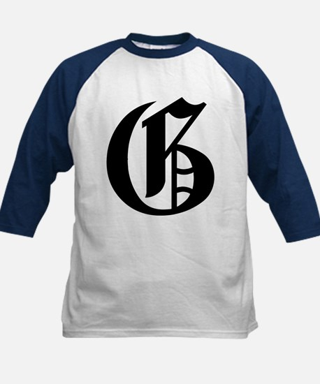 "Letter ""G"" (Gothic Initial) Kids Baseball Jersey"