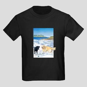 Playful Dogs On Beach Kids Dark T-Shirt