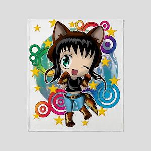 COYOTE GIRL ANIME CHIBI Throw Blanket