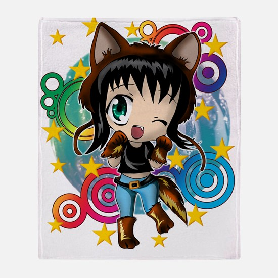 COYOTE GIRL ANIME CHIBI Throw Blanket