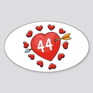 44th Valentine Oval Sticker