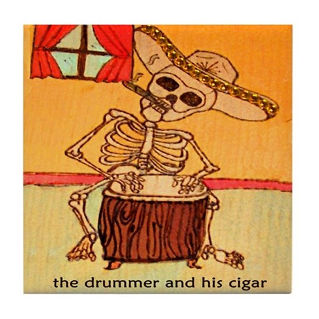 The Drummer and his cigar. Tile Coaster
