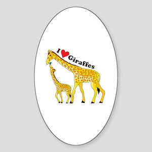 I Love Giraffes Sticker (Oval)
