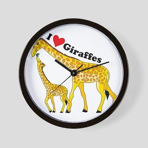 I Love Giraffes Wall Clock