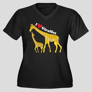 I Love Giraffes Women's Plus Size V-Neck Dark T-Sh