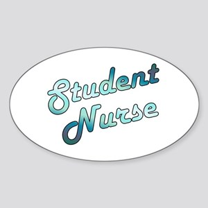 Student Nurse Neon Retro Oval Sticker