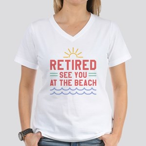 Retired See You At The Beach Women's V-Neck T-Shir