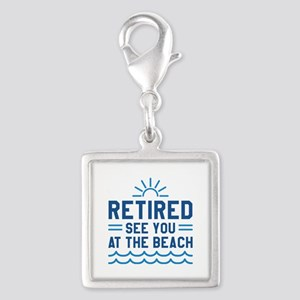 Retired See You At The Beach Silver Square Charm