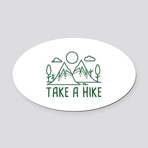 Take A Hike Oval Car Magnet