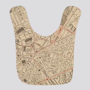 Vintage Map of Downtown Boston Polyester Baby Bib