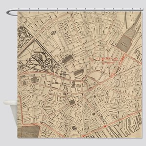 Vintage Map of Downtown Boston MA ( Shower Curtain