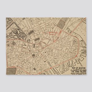 Vintage Map Of Downtown Boston Ma 5 X7 Area Rug