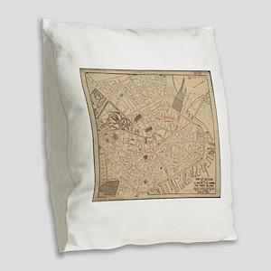 Vintage Map of Downtown Boston Burlap Throw Pillow