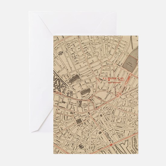 Vintage Map of Downtown Boston MA ( Greeting Cards
