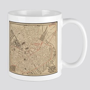 Vintage Map of Downtown Boston MA (1911) Mugs