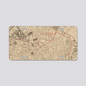 Vintage Map of Downtown Bos Aluminum License Plate