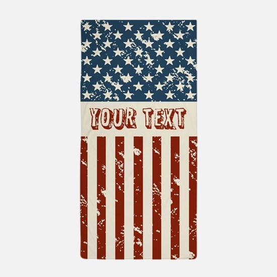 Personalize Usa Flag Beach Towel