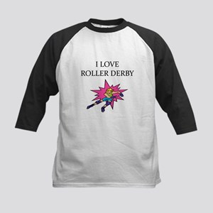 i love roller derby Kids Baseball Jersey