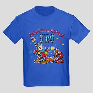 Clown Around 2nd Birthday Kids Dark T Shirt