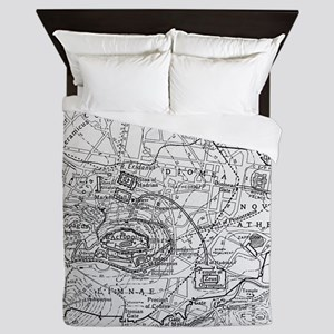 Vintage Map of Athens Greece (1911) Queen Duvet