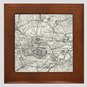 Vintage Map of Athens Greece (1911) Framed Tile