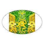 Green Totonac Oval Sticker