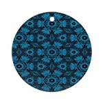 Black and Blue String Art 4406 Round Ornament
