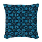 Black and Blue String Art 4406 Woven Throw Pillow