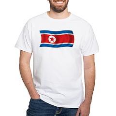 Wavy North Korea Flag White T-Shirt