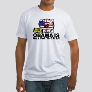 (w/BACK) Obama-is-KILLING-the-USA Fitted T-Shirt
