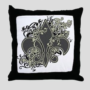 Fleur De Lis (Baroque) Throw Pillow