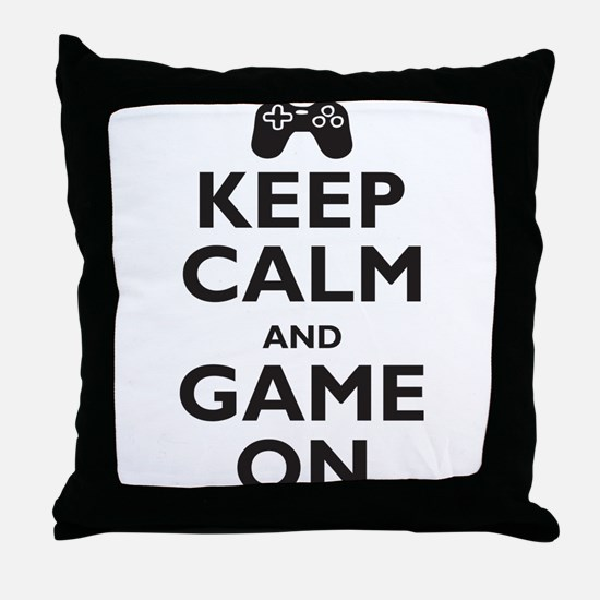 Keep Calm and Game On (parody Throw Pillow