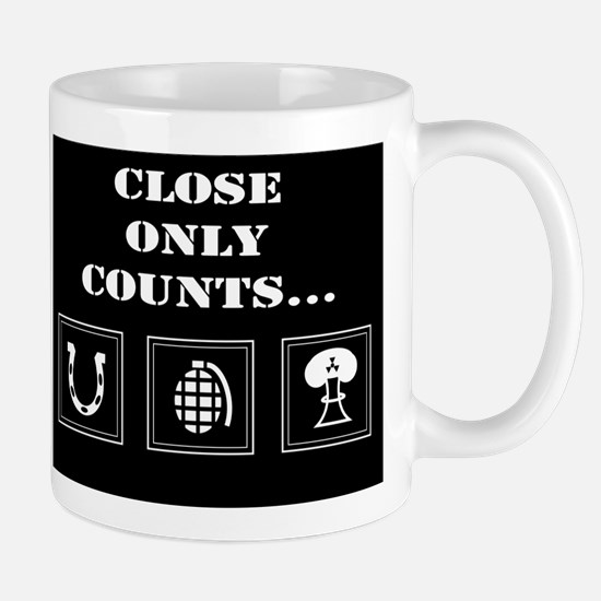 Close Only Counts black Mugs