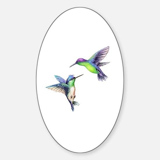Cute Hummingbirds Sticker (Oval)