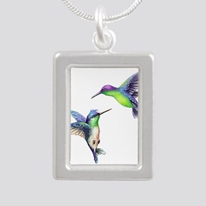 Pair of Metallic Green Blue and Purple H Necklaces