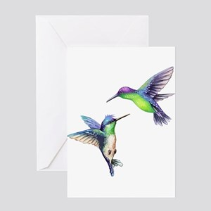Pair of Metallic Green Blue and Pur Greeting Cards